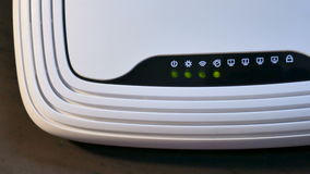 Closeup: Flashing LEDs wireless router