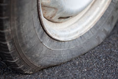 Closeup of a flat tire Royalty Free Stock Photo