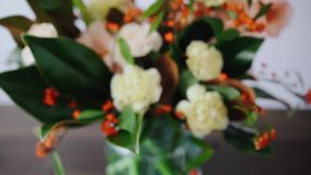 Closeup floral arrangement. Flowers in a glass vase. Woman picking fresh flowers to create beautiful bouquet in vase. Flower shop concept stock footage