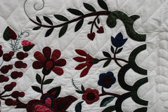 Closeup of flower pattern on Amish Quilt Royalty Free Stock Image