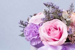 Closeup flowers background -blank greeting card or invitation with flowers in pink and purple tones.  Stock Photos