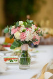 Closeup of flowers bouquet at luxury wedding reception Stock Image