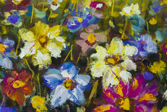 Closeup flowers oil painting fragment Royalty Free Stock Image