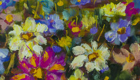 Closeup flowers oil painting fragment. Hand Painted flower Impressionist art. Big flowers. Close up fragment of oil painting artistic flowers image. Palette Stock Image