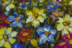 Closeup flowers oil painting fragment. Hand Painted flower Impressionist style Stock Image