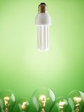 Closeup of fluorescent light bulb Stock Images
