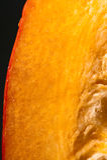 Closeup. Focus on pulp of orange pumpkin. Stock Photo