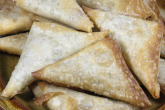 Closeup of Folded and Freshly Fried Samoosas Stock Images