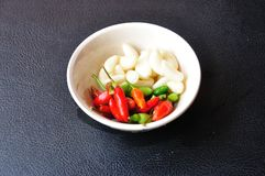 Closeup food ingredient, garlic and chlli Stock Photos