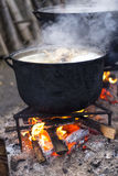 Closeup of food prepared in old cast iron Stock Photo