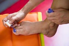 Closeup of foot with nailpolish Stock Photos