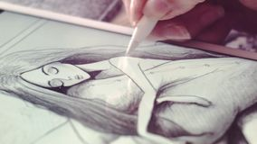 Drawing Morning in a Closeup stock video footage