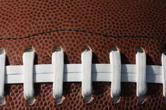 Closeup of a football. A closeup of the laces on a an American football Royalty Free Stock Photography