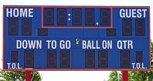 Closeup of a Football Scoreboard Royalty Free Stock Photo