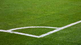 Closeup of football soccer field. With green grass stock images