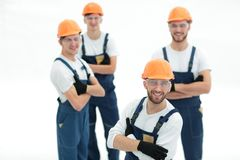 Closeup.the foreman and construction team. On white royalty free stock images