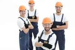Closeup.the foreman and construction team. On white royalty free stock photos