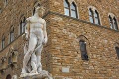 Closeup of Fountain of Neptune on the Signoria square, (Piazza d Stock Photo