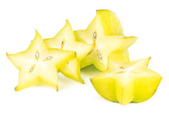 Closeup of four carambola slices Stock Images