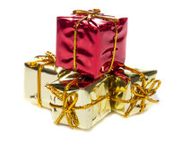 Closeup of four small red and yellow  gift boxes Stock Photos