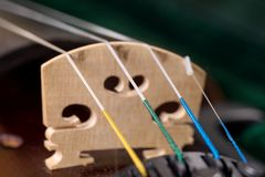 Closeup of the four strings of the classical violin royalty free stock photo