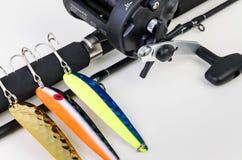 Closeup för laxfiskeuppsättning Arkivbild