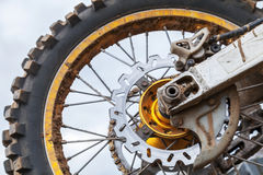 Closeup fragment of motocross bike wheel Royalty Free Stock Image