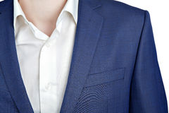 Closeup fragment of suit jacket on prom night for man. Royalty Free Stock Photo