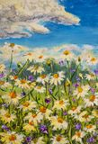 Closeup fragment, texture Original oil painting of flowers, beautiful field flowers on canvas. Modern Impressionism. Impasto artwo. Original oil painting of royalty free stock image