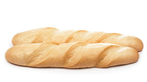 Closeup of french baguette isolated on white. Stock Image