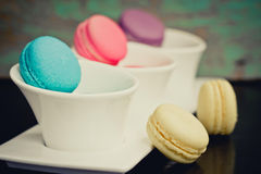 Closeup of french macaroon cookies Royalty Free Stock Photo