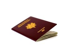 Closeup of French passport. Isolated on white Royalty Free Stock Photos