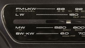 Closeup on a Radio Tuner. Closeup on the frequency display of a radio FM-LW-MW-SW tuner Royalty Free Stock Images