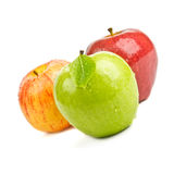 Closeup Fresh Apples Isolated On White Royalty Free Stock Photos