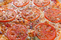 Closeup of fresh baked pizza Royalty Free Stock Photo