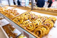 Closeup of fresh bakery products in the shop. Wheat, bake, food. Market royalty free stock images