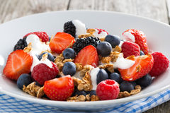 closeup of fresh berries, yogurt and homemade muesli Stock Photography