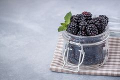 Closeup of fresh blackberries with a mint leaf in a glass jar on rustic table Royalty Free Stock Photos