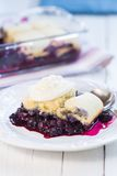 Closeup of a fresh blueberry cobbler. Royalty Free Stock Photos