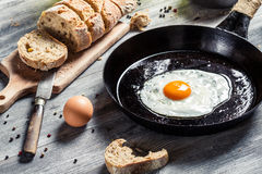 Closeup of fresh bread and fried egg for breakfast Royalty Free Stock Photos