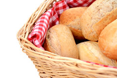 Closeup of fresh bread rolls in a wicker basket Stock Images