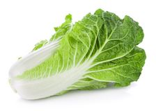 Fresh chinese cabbage on a white background. Closeup fresh chinese cabbage on a white background Royalty Free Stock Photography