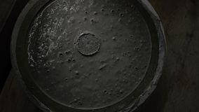 Closeup of fresh concrete in the mold for details. wet concrete in silicone form. 4k. 4k video. slow motion. 23.98 fps.  stock footage