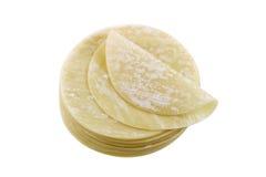 Closeup of fresh dumpling wrappers to make wontons Stock Photos