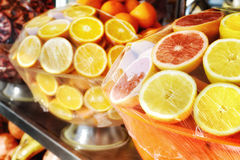 Closeup of fresh fruits. Shop with fresh fruits juices stock photo