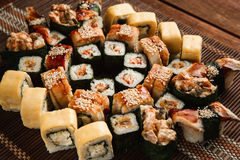 Closeup of fresh great sushi set, japanese food Royalty Free Stock Photos