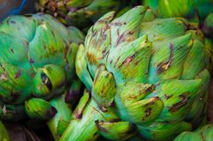 Closeup on Fresh green artichokes in the market Royalty Free Stock Photography