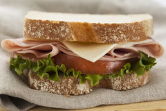 Closeup fresh ham and cheese sandwich Royalty Free Stock Images