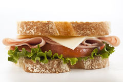 Closeup fresh ham and cheese sandwich Stock Image