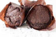 Chocolate cupcakes closeup Stock Images